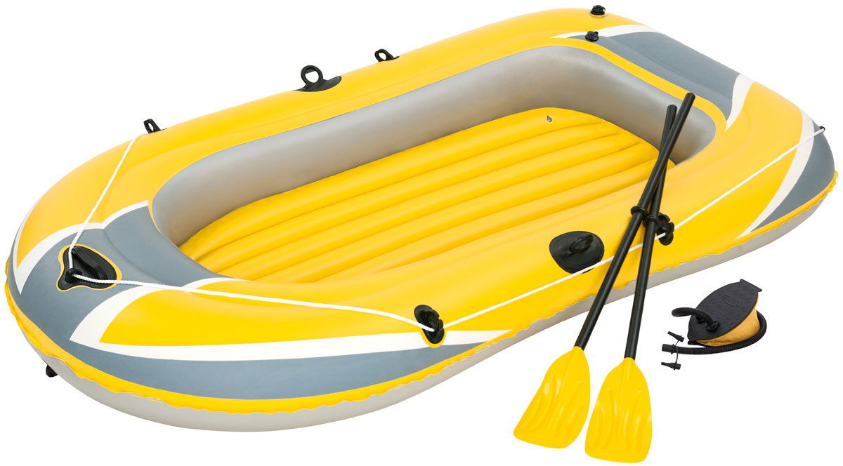 Bestway Лодка надувная гребная с вёслами и насосом61083Быстрое надувание и сдувание. Веревка по периметру лодки. Надувное дно. Пластиковые ручки для переноски. В комплекте: насос ручной, весла.Вместимость: 2 человека.Размер сдутой лодки: 234 х 135 см. Размер надутой лодки: 228 х 121 см. Максимальная нагрузка 170 кг.Как выбрать надувную лодку для рыбалки. Статья OZON Гид