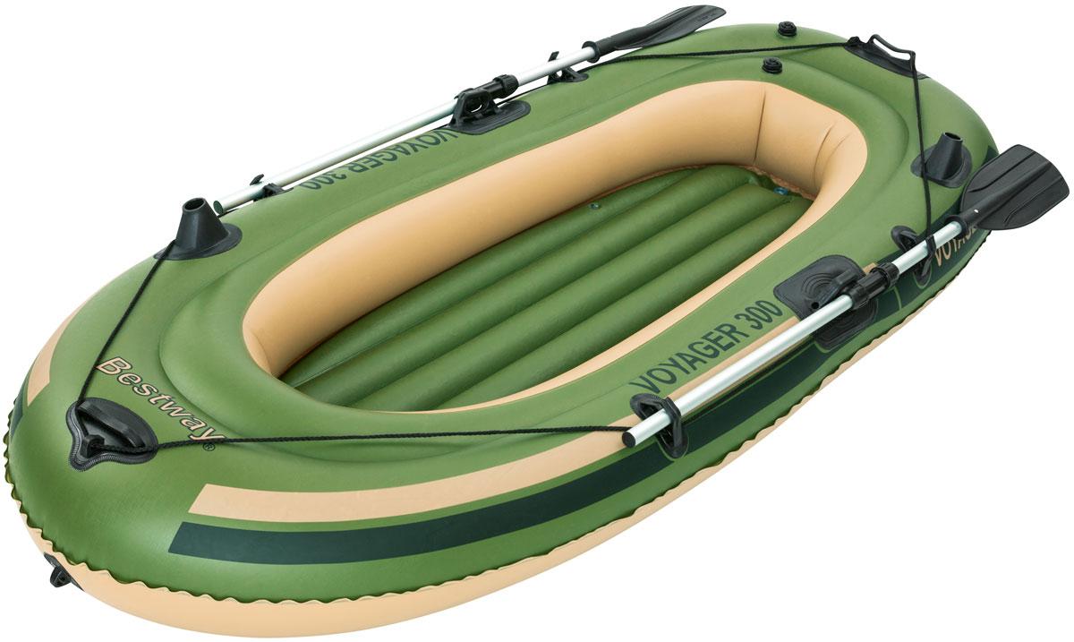 Bestway Лодка надувная гребная с вёслами65051Быстрое надувание и сдувание. Веревка по периметру лодки. Надувное дно. Пластиковые ручки для переноски.Изготовлено из полимерных материалов. В комплекте: весла (длина 145 см). Размер надутой лодки: 243 х 102 см. Максимальная нагрузка: 170 кг. Вместимость: 2 человека.