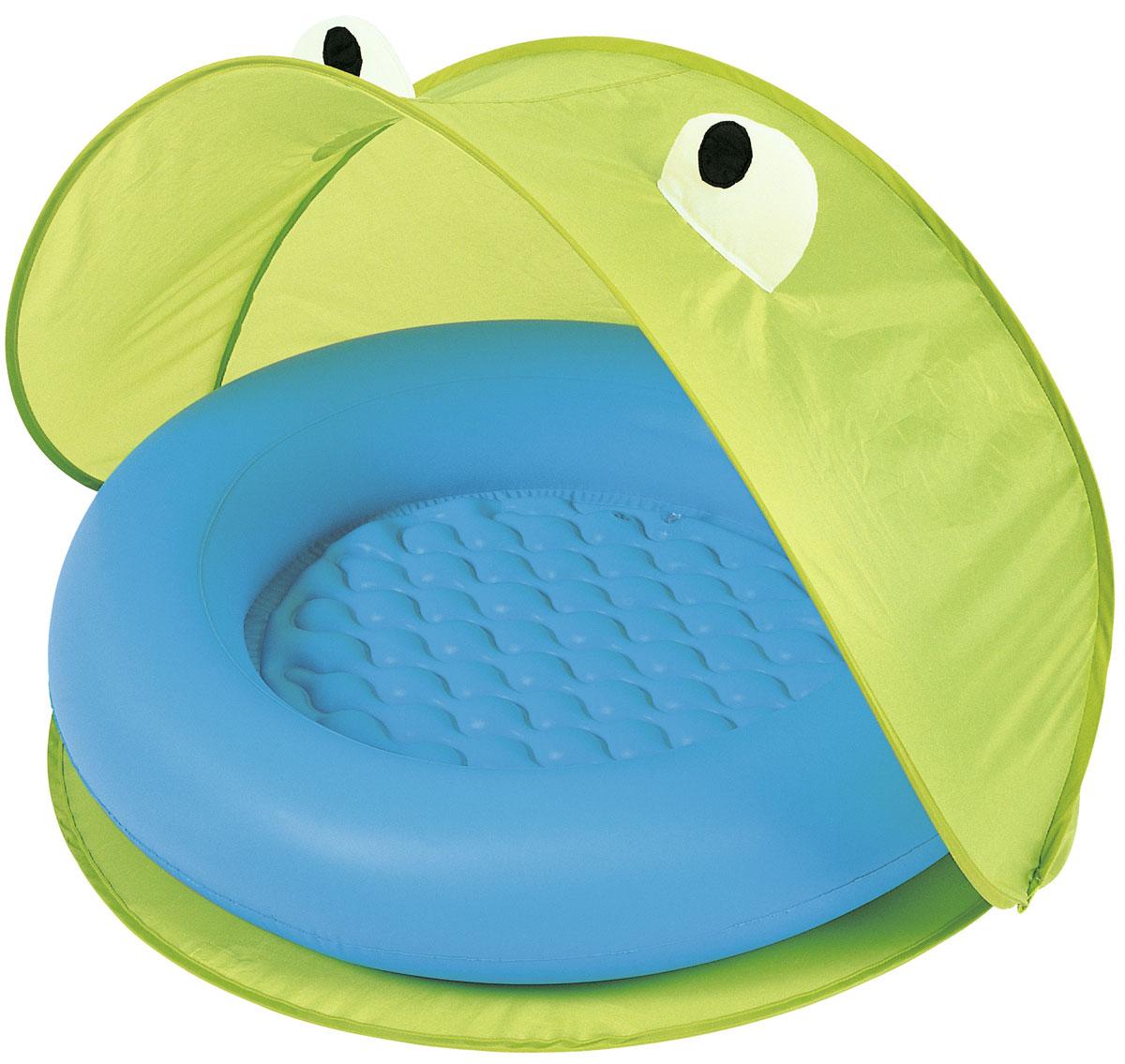 Bestway Надувной бассейн со складным тентом от солнца. Зеленый/голубой.51110_GЯркий и забавный надувной бассейн станет любимым развлечением вашего малыша. Специальный тент, в виде забавного зверька защит от яркого солнца. Тент легко складывается и раскладывается. Мягкое надувное дно сделает купание комфортным. Благодаря удобной сумке для хранения, у вас не возникнет проблем в межсезонье. Рекомендованный возраст: для детей от 2-х лет. Размер 97*97*74 см. Примерныйобъем 23 л. Изготовлено из полимерных материалов (винил).