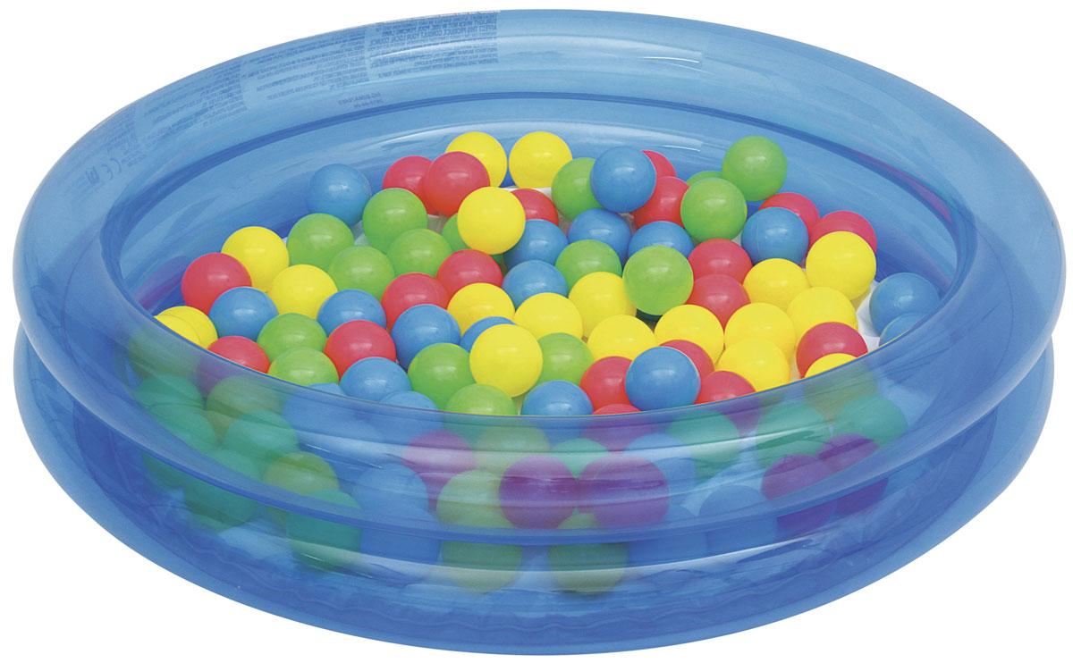Bestway Бассейн надувной детский с 50 шариками, 73 л. Голубой.51085_BЯркий бассейн непременно привлечёт внимание вашего малыша. Бассейн можно использовать в помещении, поместив в него 50 ярких, пластиковых шариков (в комплекте) или на улице, наполнив его водой. Рекомендованный возраст для детей от 2 лет. Примерный объем бассейна 73 л. В комплекте самоклеящаяся заплатка. Уважаемые клиенты! Обращаем ваше внимание на тот факт, что бассейн поставляется в сдутом виде и надувается при помощи насоса (не входит в комплект). Диаметр: 91 см. Высота: 20 см. Объем бассейна: 73 л.Диаметр шарика: 6 см.