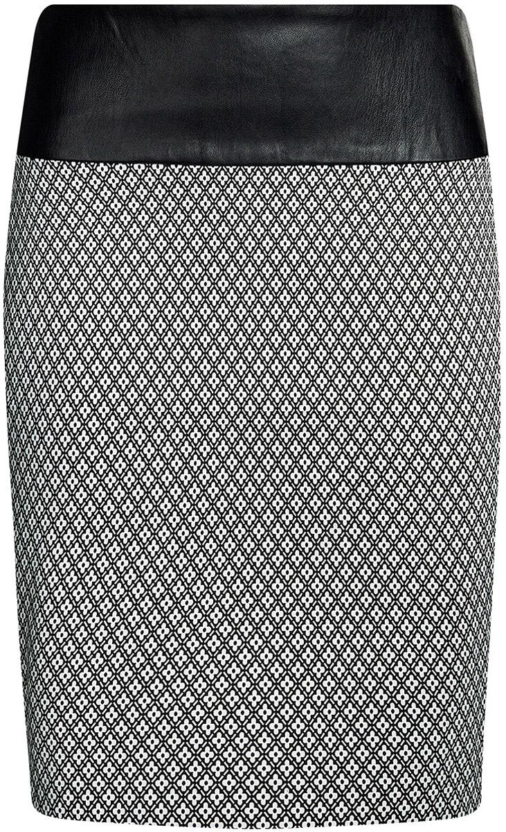 Юбка oodji Ultra, цвет: белый, черный. 11602170-3/31266/1229G. Размер 42-170 (48-170)11602170-3/31266/1229GСтильная юбка облегающего силуэта выполнена из высококачественного материала. На поясе юбка дополнена вставкой из искусственной кожи. Сзади модель застегивается на металлическую застежку-молнию.