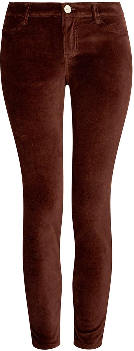 Брюки женские oodji Ultra, цвет: темно-коричневый. 11703094/33099/3900N. Размер 38-170 (44-170)11703094/33099/3900NСтильные женские брюки oodji выполнены из хлопка с небольшим добавлением полиуретана. Модель со средней посадкой застегивается на молнию и пуговицу в поясе, имеются шлевки для ремня. Спереди изделие дополнено двумя втачными карманами, сзади двумя накладными карманами.