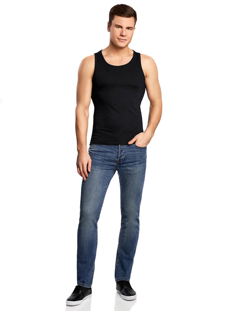 Майка мужская oodji Basic, цвет: черный. 5B710002M/44260N/2900N. Размер XS (44) майка мужская oodji basic цвет бирюзовый 5b700000m 44133n 7300n размер xs 44