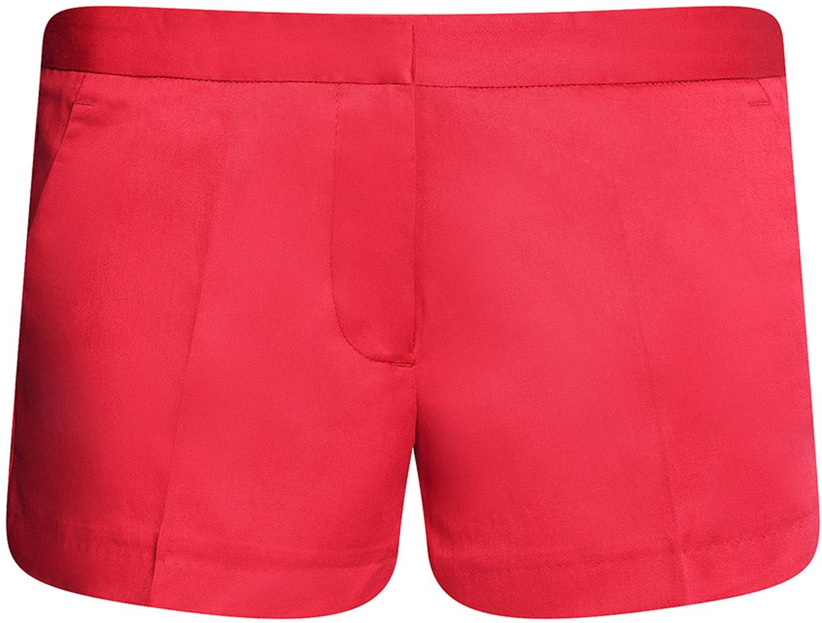 Шорты женские oodji Ultra, цвет: красный коралловый. 11801093-1B/14522/4D00N. Размер 42-170 (48-170)