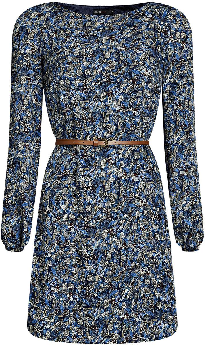 Купить Платье oodji Ultra, цвет: темно-синий, коричневый. 11900150-5B/32823/7937F. Размер 34-170 (40-170)