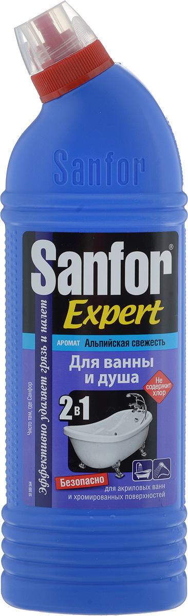 """Специальная формула позволяет использовать Sanfor   """"Expert"""" абсолютно для любых видов ванн,   хромированных кранов и душа, не повреждает   поверхности даже при ежедневном использовании.   Обладает хорошими чистящими свойствами, эффективно   удаляет известковый налет, препятствует его появлению,   легко справляется с мыльными потеками, удаляет   ржавчину.  В отличие от обычных средств, Sanfor """"Expert"""" содержит   специальные компоненты, препятствующие осаждению   загрязнений после смывания. Поэтому, даже после   одного применения, оставляет блеск в течение 7 дней.   Благодаря загущенной формуле равномерно   распределяется и не стекает с наклонных поверхностей.   Обеспечивает свежий запах. Не содержит хлор, при этом   специальная формула гарантирует хорошие чистящие и   антимикробные свойства.  Товар сертифицирован.    Уважаемые клиенты!  Обращаем ваше внимание на возможные изменения в   дизайне упаковки. Качественные характеристики товара   остаются неизменными. Поставка осуществляется в   зависимости от наличия на складе.      Как выбрать качественную бытовую химию, безопасную для природы и людей. Статья OZON Гид"""