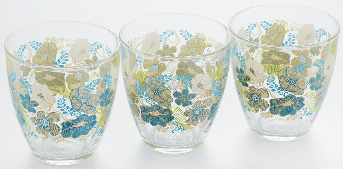 """Набор Pasabahce """"Blue Dream"""" состоит из трех стаканов, выполненных из закаленного натрий-кальций-силикатного стекла. Изделия украшены изображением крупных цветов  и прекрасно подойдут для подачи холодных напитков. Их оценят как любители классики, так и те, кто предпочитает современный дизайн.Набор идеально подойдет для сервировки стола и станет отличным подарком к любому празднику. Можно мыть в посудомоечной машине. Диаметр стакана (по верхнему краю): 8,3 см. Высота стакана: 9 см."""