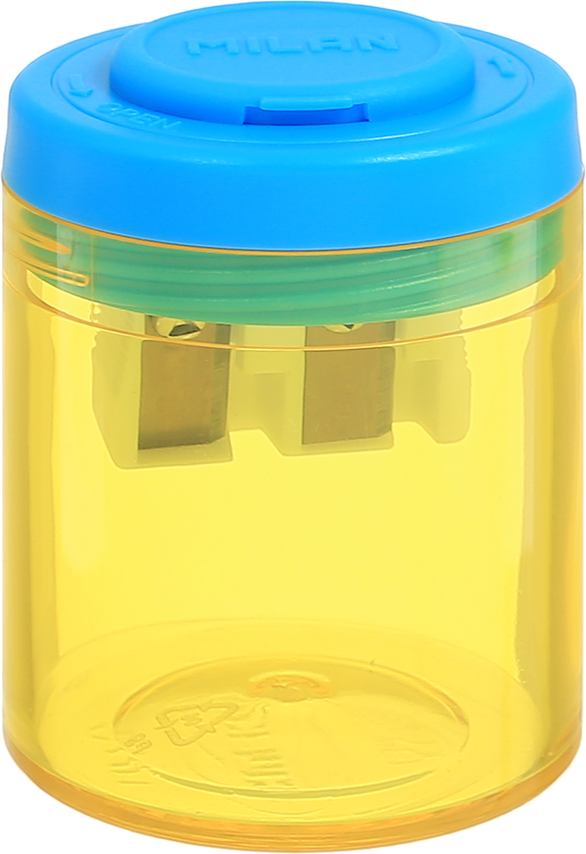 Milan Точилка Collection с контейнером цвет желтый голубой20161912_желтый/голубойДизайнерская точилка Milan Collection оснащена безопасной системой заточки.Эта система предотвращает отделение лезвия от точилки. Идеально подходит для использования в школах. Стальное лезвие острое и устойчиво к повреждению. Идеально подходит для заточки графитовых и цветных карандашей