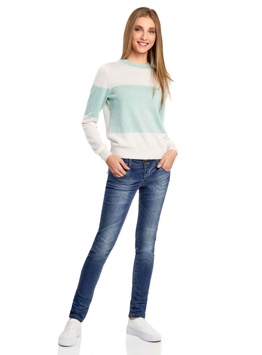Джемпер женский oodji Ultra, цвет: белый, ментоловый металлик. 63812540M/43258/1265X. Размер L (48)63812540M/43258/1265XУютный женский джемпер с круглым вырезом горловины и длинными рукавами выполнен из высококачественного материала.