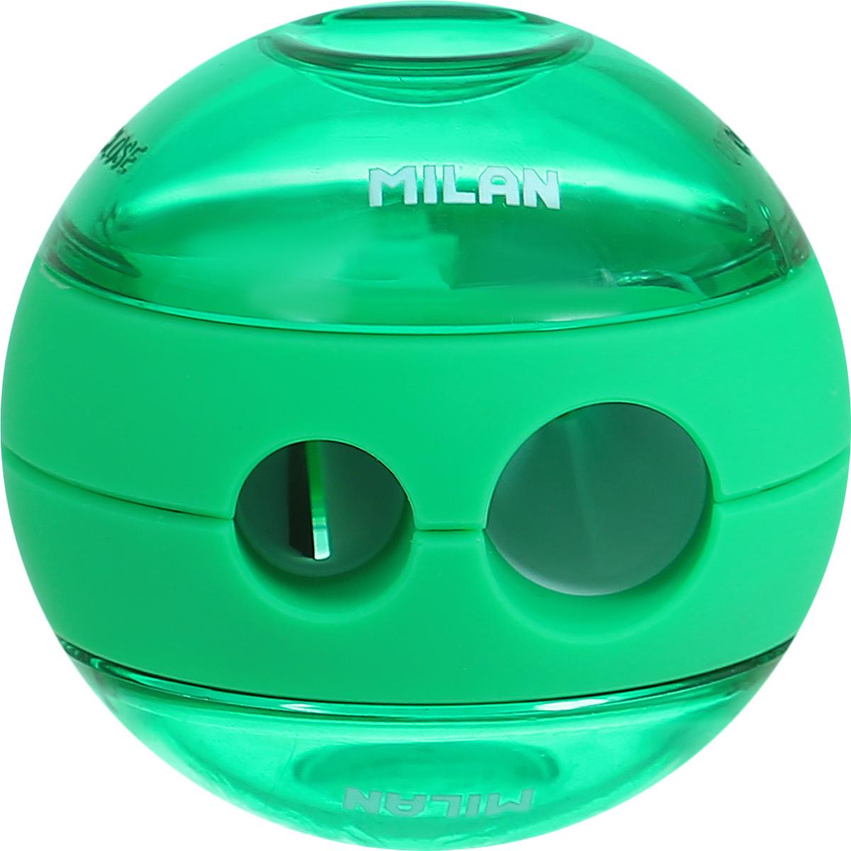 Milan Точилка Sphere с контейнером цвет зеленый20156212_зелёныйОригинальная модель точилки Milan Sphere с двумя отверстиями - для затачивания карандашей разных диаметров 11/8 мм. Эффектный дизайн и отличное качество материалов.