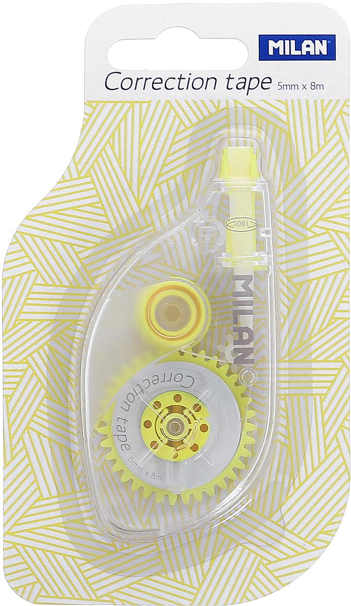 Milan Корректирующая лента цвет желтый1300701_желтыйКорректирующая лента Milan корректирует быстро, чисто и точно.Коррекция этой ленты подходит для всех типов бумаг. Размер 5 мм в ширину, 8 м в длину.