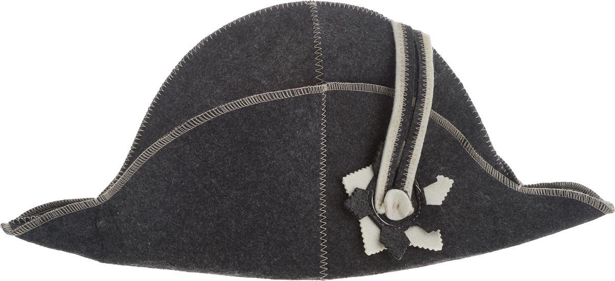 """Шапка Доктор баня """"Наполеон"""" станет незаменимым  аксессуаром для любителей отдыха в бане и сауне.  Шапка выполнена из войлока (100% шерсти) и  оформлена в виде шляпы Наполеона. Необычный дизайн  изделия поможет сделать ваш отдых более приятным и  разнообразным, к тому же шапка защитит вас от  появления головокружения в бани, ваши волосы от сухости и  ломкости, а голову от перегрева.  Обхват головы (по основанию шапки): 72 см.  Общая высота шапки: 22 см."""