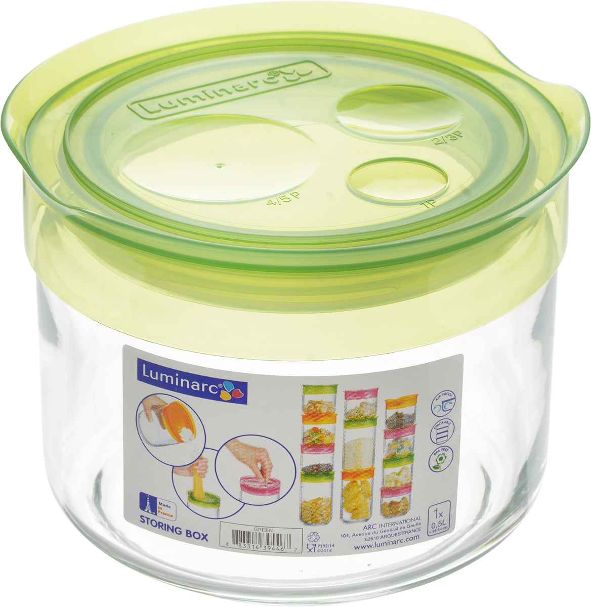 Банка для сыпучих продуктов Luminarc Storing Box, с крышкой, цвет: салатовый, 500 млJ2255Банка Luminarc Storing Box, выполненная изупрочненного стекла, станет незаменимымпомощником на кухне. В ней будет удобно хранитьразнообразные сыпучие продукты, такие как кофе,сахар, соль или специи. Прозрачная банка позволит следить,что и в каком количестве находится внутри. Банка надежнозакрывается пластиковой крышкой, которая снабженарезиновым уплотнителем для лучшей фиксации.Такая банка не только сэкономит место на вашей кухне, но иукрасит интерьер. Объем: 500 мл. Диаметр банки (по верхнему краю): 9 см. Высота банки (без учета крышки): 8 см.