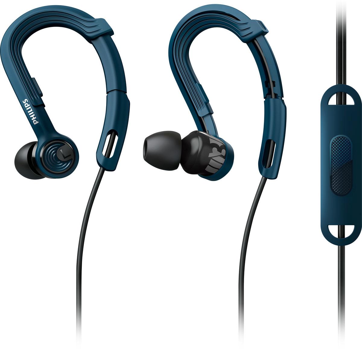 Philips SHQ3405BL/00 наушникиSHQ3405BL/00Наушники Philips SHQ3405BL/00 помогут сконцентрироваться и сохранить мотивацию при выполнении самых трудных задач. Благодаря регулировке крепления-крючка, легкому весу и защите от пота вы можете наслаждаться великолепным звучанием музыки во время интенсивных тренировок.Наушники ActionFit с запатентованным регулируемым заушным креплением обеспечивают надежную посадку и комфорт. Просто поместите крючки за уши и сдвиньте регулируемое крепление вверх или вниз для комфортной посадки. Теперь вы готовы к покорению любых высот и препятствий - наушники останутся на месте, чем бы вы ни занимались.Конструкция наушников ActionFit разрабатывалась для гарантии прочности и надежности. Кевларовый кабель хорошо защищен от износа и поломок и рассчитан на использование в жестких условиях во время тренировок.8,6-мм излучатели обеспечивают великолепное звучание, которое помогает достичь превосходных результатов.Наушники-вкладыши обеспечивают плотное прилегание к стенкам слухового прохода, что приводит к превосходной звуковой изоляции. Эргономичная форма акустических трубок обеспечивает идеальную посадку.Кабельный зажим обеспечивает удобное положение кабеля во время максимальных нагрузок.Наушники ActionFit весят всего 7,1 грамма - они очень легкие и обеспечивают комфортное ношение. Скорее всего, во время тренировки вы даже не будете их ощущать - останется лишь превосходный, мощный звук, который гарантирует концентрацию и желание продолжать тренироваться.Не бойтесь вспотеть или промокнуть. С защитой от влаги по стандарту IPX4 вы можете тренироваться даже под дождем, и ни одна капля влаги не проникнет в наушники.Водонепроницаемые материалы, из которых изготовлены наушники, позволяют мыть их под краном.
