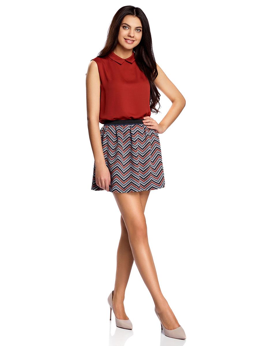 Юбка oodji Ultra, цвет: черный, темно-оранжевый. 14100019-4/46478/2959S. Размер M (46)14100019-4/46478/2959SРасклешенная мини-юбка выполнена из фактурной ткани. Сзади юбка застегивается на металлическую застежку-молнию.