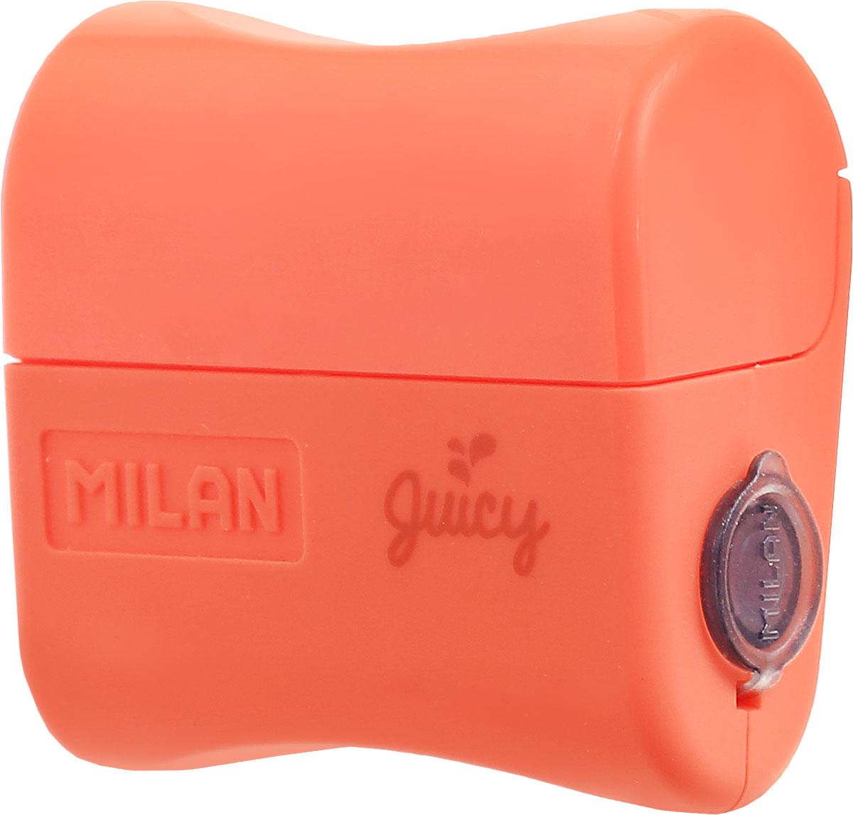 Milan Точилка Juicy с контейнером цвет оранжевый20164132_оранжевыйДизайнерская точилка Milan  Juicy с контейнером оснащена безопасной системой заточки.Эта система предотвращает отделение лезвия от точилки. Идеально подходит для использования в школах. Стальное лезвие острое и устойчиво к повреждению. Идеально подходит для заточки графитовых и цветных карандашей.