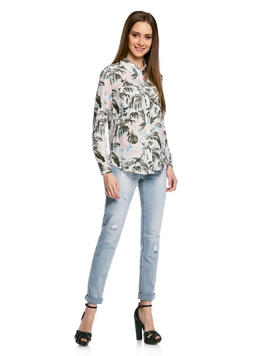 Блузка женская oodji Collection, цвет: кремовый, зеленый. 21411115/46436/3062F. Размер 44-170 (50-170) блузка женская oodji collection цвет серый черный розовый 21404007 15018 2341e размер 44 170 50 170