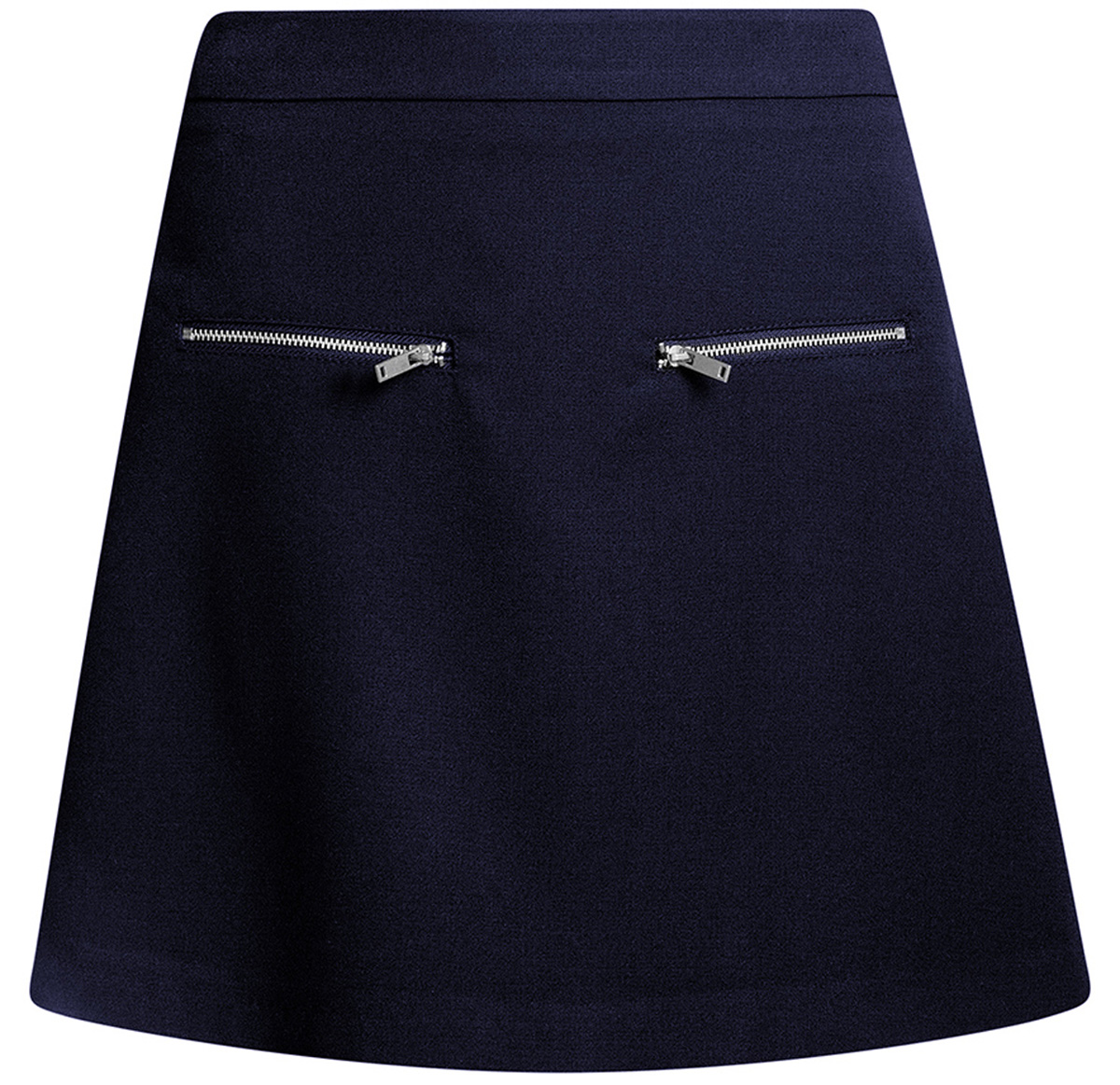 Юбка oodji Ultra, цвет: темно-синий. 11600436/31291/7900N. Размер 42-170 (48-170)11600436/31291/7900NСтильная мини--юбка в форме трапеции выполнена из высококачественного материала. Спереди модель декорирована металлическими молниями. Сзади юбка застегивается на потайную застежку-молнию.