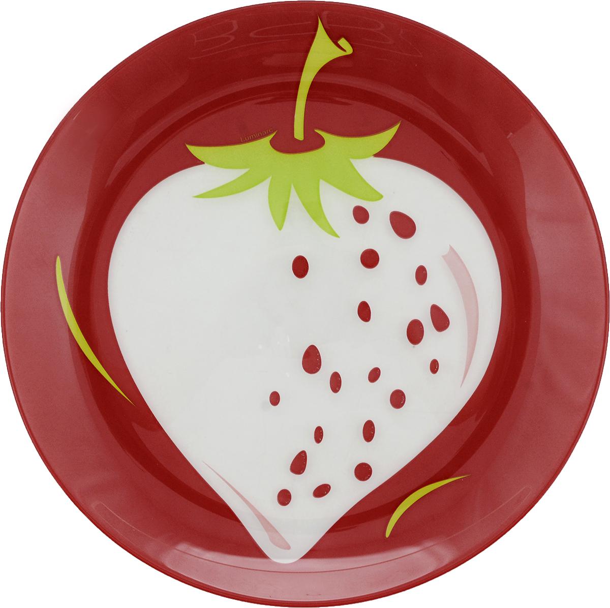 """Десертная тарелка Luminarc """"Клубника"""", изготовленная из высококачественного стекла, имеет изысканный внешний вид. Такая тарелка прекрасно подходит как для торжественных случаев, так и для повседневного использования. Идеальна для подачи десертов, пирожных, тортов и многого другого. Она прекрасно оформит стол и станет отличным дополнением к вашей коллекции кухонной посуды.Диаметр тарелки: 20 см.Высота тарелки: 1,5 см."""