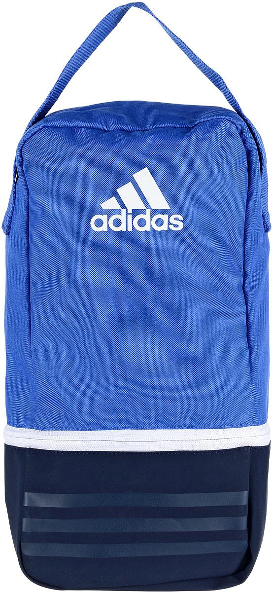 Сумка спортивная Adidas Tiro SB, цвет: голубой, темно-синий, 23 лBS4765Небольшая, но вместительная спортивная сумка Adidas Tiro SB выполнена из полиэстера и полиэфира. Изделие имеет одно отделение, закрывающееся на застежку-молнию. Дно выполнено из более плотного материала с полиуретановым покрытием, что обеспечивает защиту от влаги. Сетчатая текстильная вставка обеспечивает естественную вентиляцию. Сумка оснащена удобной ручкой для переноски. Сумку можно носить как самостоятельно, так и использовать для организации внутреннего пространства больших сумок.