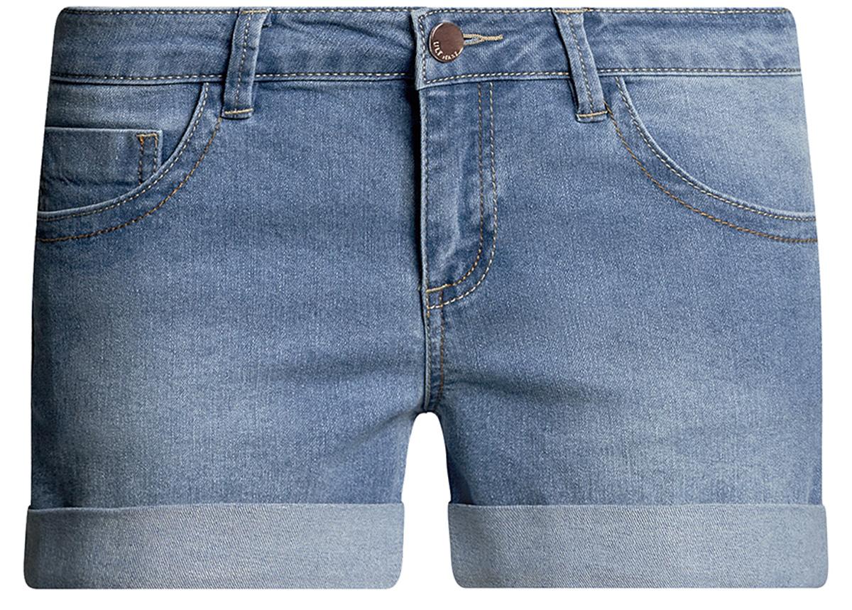Шорты женские oodji Ultra, цвет: голубой джинс. 12807025-3B/46253/7000W. Размер 27 (44)12807025-3B/46253/7000WСтильные женские шорты oodji Ultra изготовлены из хлопка, полиэстера и эластана. Шорты застегиваются на металлическую пуговицу в поясе и ширинку на молнии. На поясе предусмотрены шлевки для ремня. Спереди расположены два втачных кармана и один накладной кармашек, сзади - два накладных кармана. Шорты оформлены эффектом потертости и декоративными отворотами.