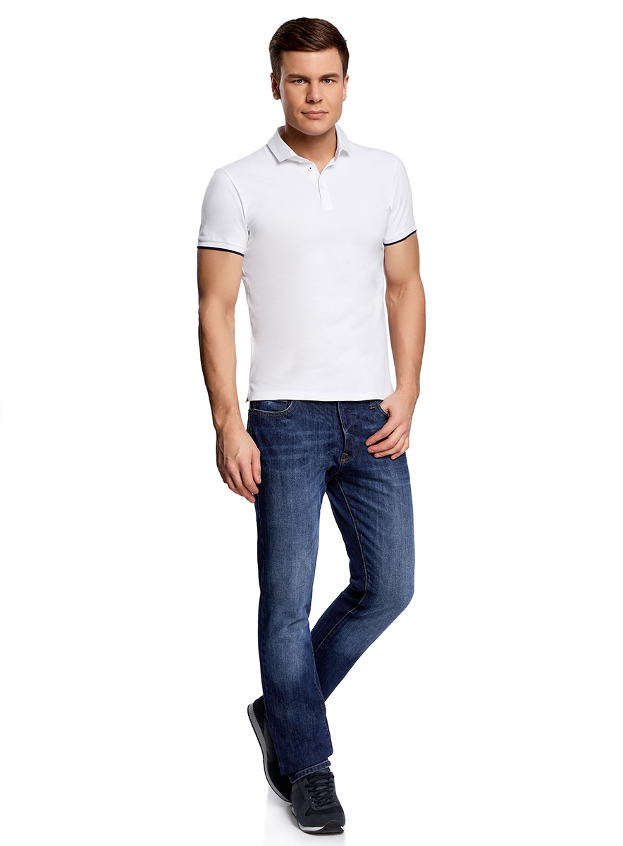 Поло мужское oodji Lab, цвет: белый. 5L412234M/21028N/1079B. Размер XL (56) aic s040