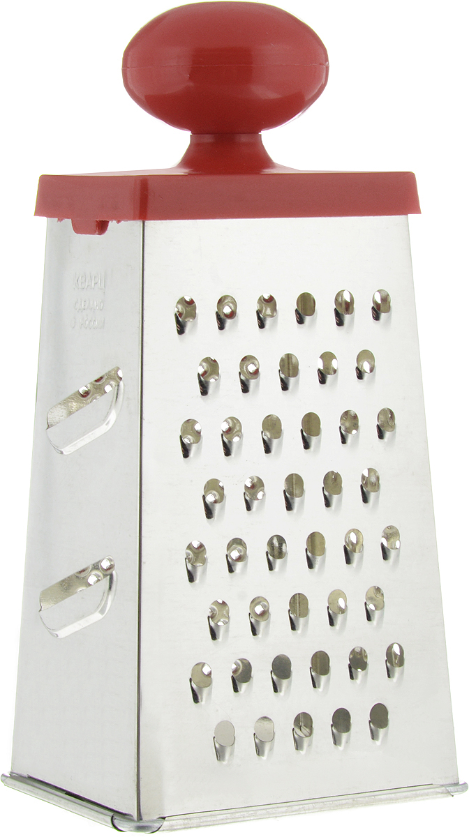 Терка Кварц, четырехгранная, высота 22 смКМ01.000.03Четырехгранная терка Кварц, выполненная из высококачественной жести, станет незаменимым атрибутом приготовления пищи. На одном изделии представлены четыре вида терок - крупная, средняя, мелкая и нарезка ломтиками. Терка оснащена удобной пластиковой ручкой.Терка Кварц станет достойным дополнением к вашему кухонному инвентарю.Высота терки: 22 см.Размер основания: 10,5 х 8,5 см.