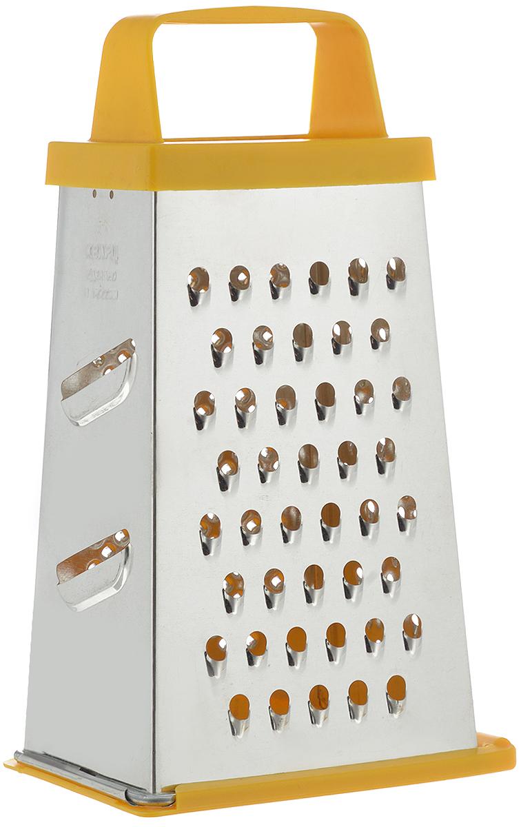 """Четырехгранная терка """"Кварц"""", выполненная из высококачественной жести и пластика, станет незаменимым  атрибутом приготовления пищи. На одном изделии представлены четыре вида терок - крупная,  средняя, мелкая и нарезка ломтиками. Терка оснащена съемным дном и удобной ручкой.  Терка """"Кварц"""" станет достойным дополнением к вашему кухонному инвентарю. Высота терки: 21 см. Размер основания: 12 х 9 см."""