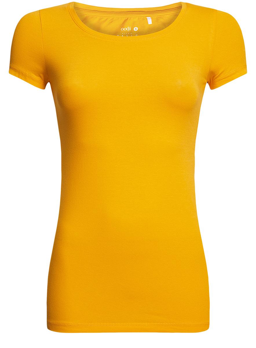 Футболка женская oodji Ultra, цвет: лимонный. 14701005-7B/46147/5200N. Размер M (46)14701005-7B/46147/5200NСтильная женская футболка oodji Ultra, выполненная из хлопка с небольшим добавлением полиуретана, отлично дополнит ваш гардероб. Модель с круглым вырезом горловины и короткими рукавами.