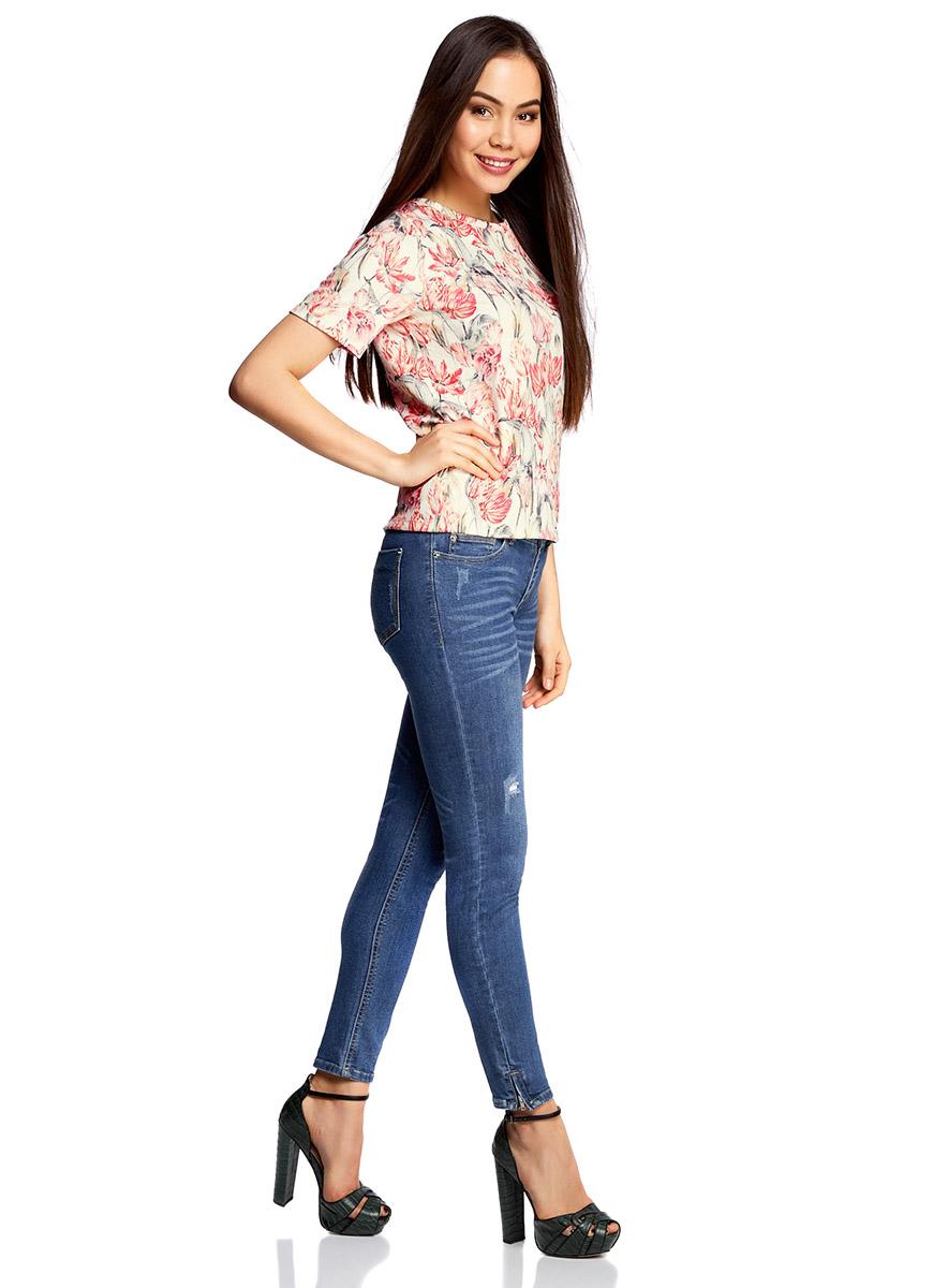 Футболка женская oodji Ultra, цвет: белый, розовый. 14701043/42588/1241F. Размер XL (50) футболка oodji футболка