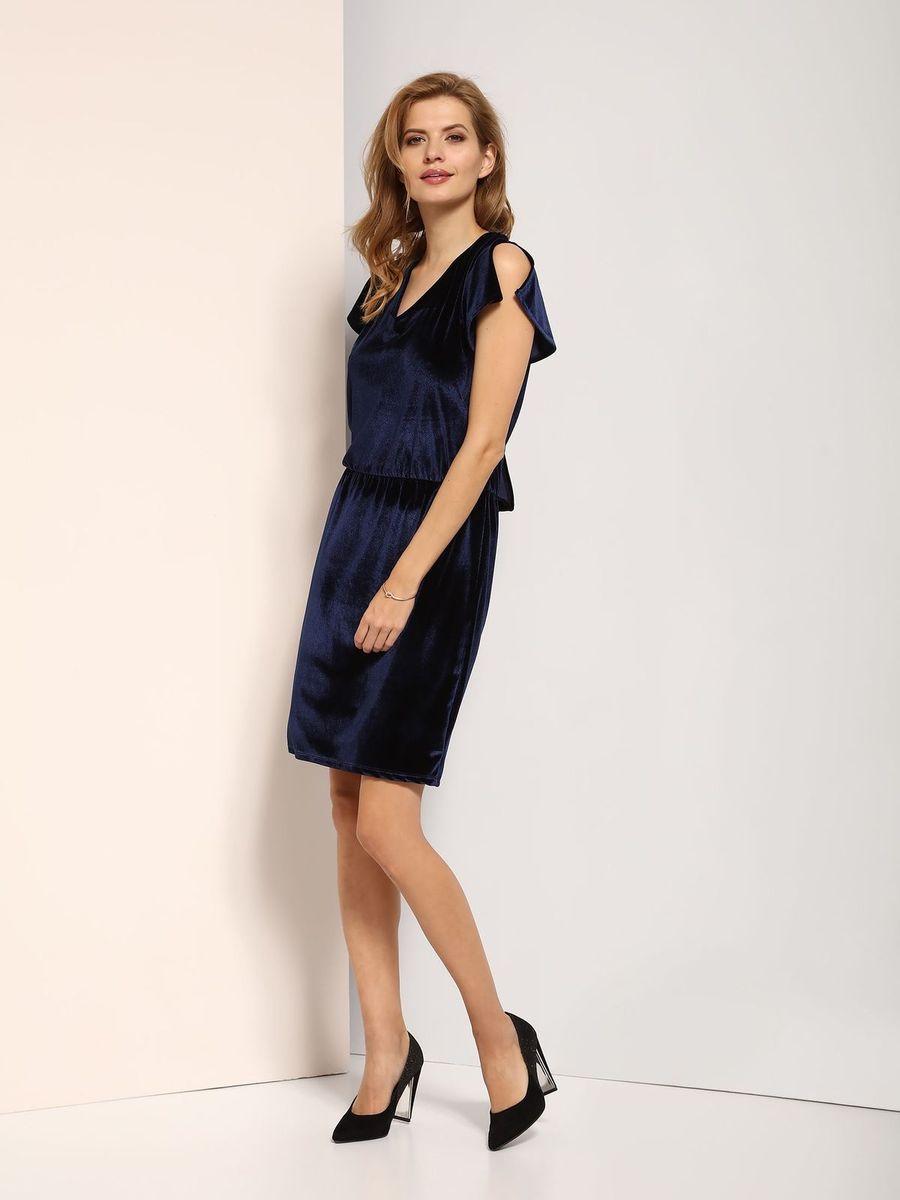 Платье Top Secret, цвет: темно-синий. SSU1770GR. Размер 38 (46)SSU1770GRПлатье Top Secret выполнено из полиэстера и эластана. Модель с V-образным вырезом горловины.