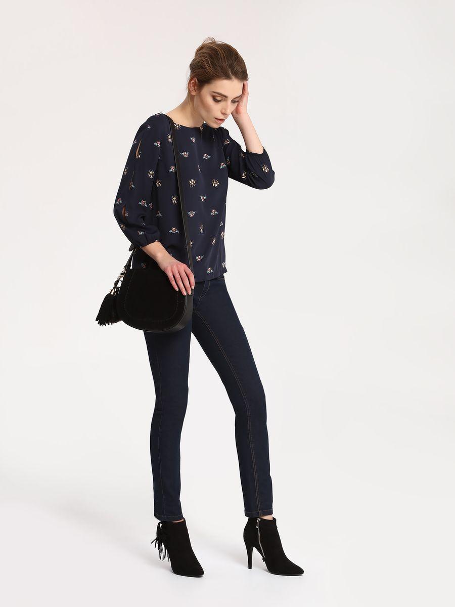 Блузка женская Top Secret, цвет: темно-синий. SBD0655GR. Размер 36 (44)SBD0655GRБлузка женская Top Secret выполнена из полиэстера. Модель с круглым вырезом горловиныи рукавами 7/8.