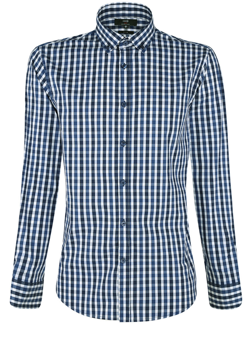 Рубашка мужская oodji Lab, цвет: темно-синий, белый. 3L110214M/39767N/7910C. Размер 40-182 (48-182)3L110214M/39767N/7910CМужская рубашка от oodji выполнена из качественного материала на основе хлопка. Модель приталенного кроя с длинными рукавамизастегивается на пуговицы.