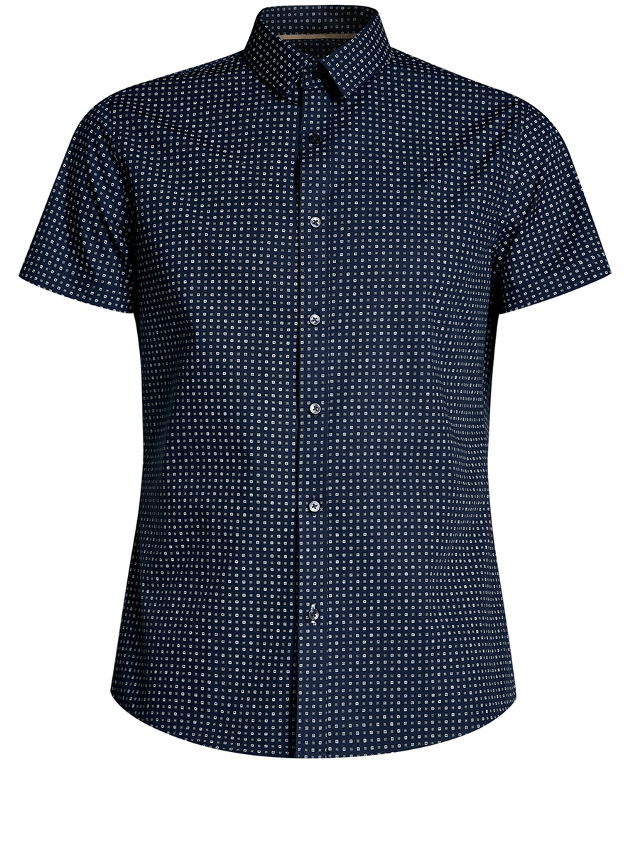 Рубашка мужская oodji Lab, цвет: темно-синий, белый. 3L210039M/44425N/7910G. Размер 38-182 (44-182)3L210039M/44425N/7910GМужская рубашка от oodji выполнена из натурального хлопка. Модель с короткими рукавами застегивается на пуговицы.