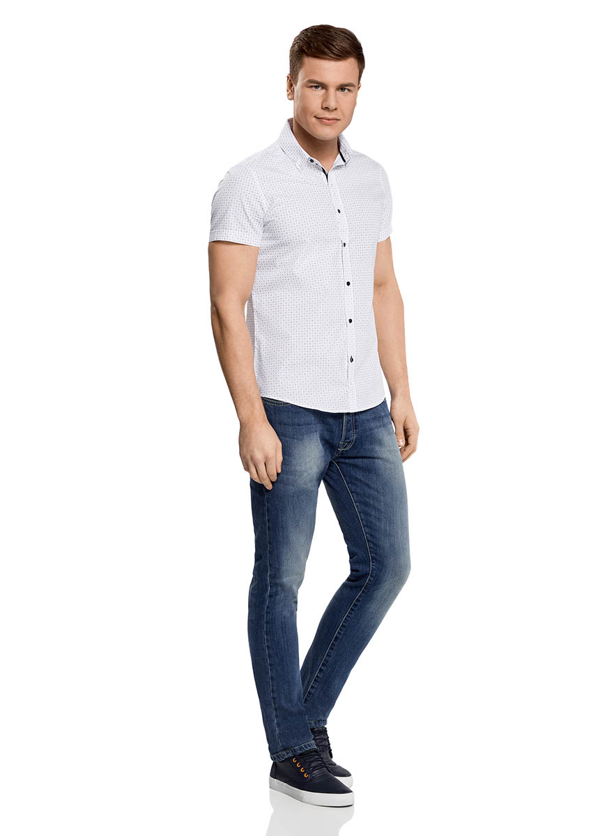 Рубашка мужская oodji Lab, цвет: белый, темно-синий. 3L210039M/44425N/1079G. Размер 38-182 (44-182)3L210039M/44425N/1079GМужская рубашка от oodji выполнена из натурального хлопка. Модель с короткими рукавами застегивается на пуговицы.