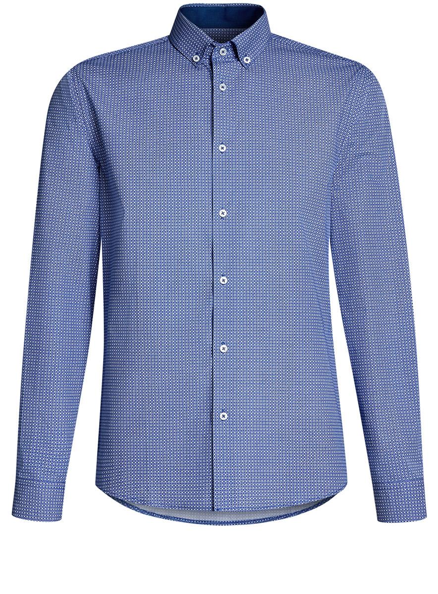Рубашка мужская oodji Lab, цвет: белый, синий цветы. 3L110243M/19370N/1075F. Размер 43-182 (54-182)3L110243M/19370N/1075FРубашка приталенная с пуговицами на воротнике