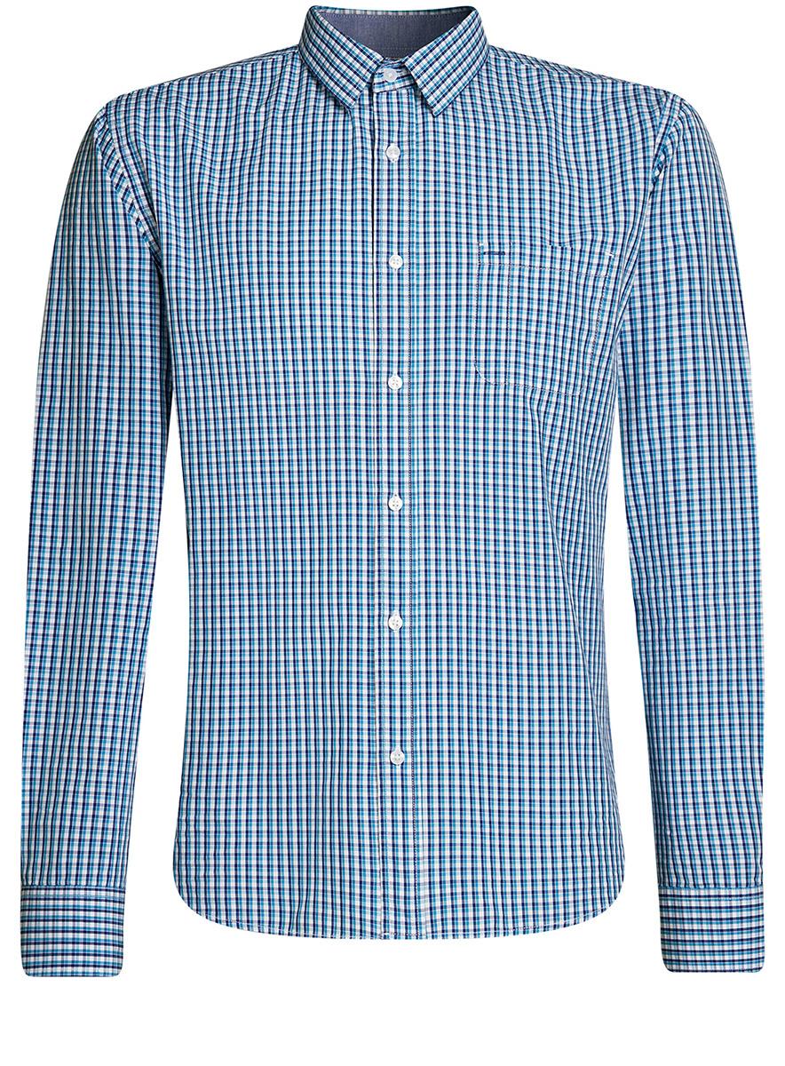 Рубашка мужская oodji Lab, цвет: белый, синий меланж клетка. 3L110255M/44094N/1076C. Размер 41-182 (50-182)3L110255M/44094N/1076CРубашка приталенного силуэта с нагрудным карманом