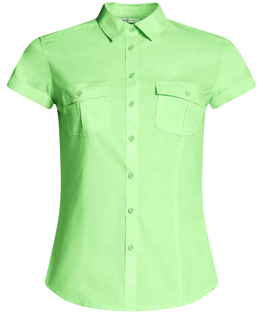 Рубашка женская oodji Ultra, цвет: светло-зеленый. 11402084-5B/45510/6000Y. Размер 36-170 (42-170) рубашка женская oodji ultra цвет белый розовый 11402084 3b 12836 1241f размер 44 170 50 170