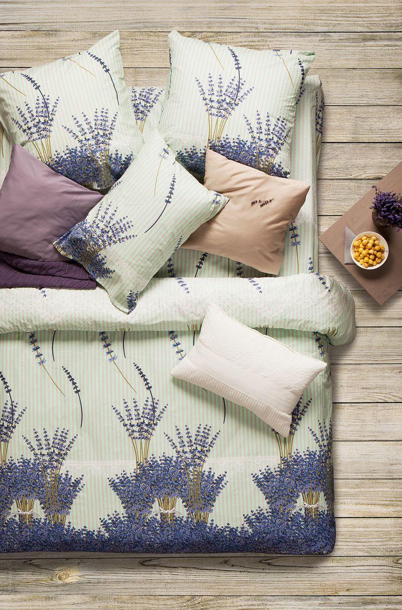 Комплект белья Sova & Javoronok Лаванда, 1,5-спальный, наволочки 70x70, цвет: белый, коричневый, синий комплект постельного белья quelle sova