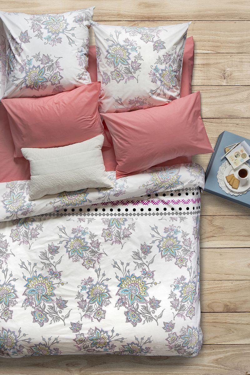 Комплект белья Sova & Javoronok Магнолия, 1,5-спальный, наволочки 70x70, цвет: белый, коралловый комплект постельного белья quelle sova