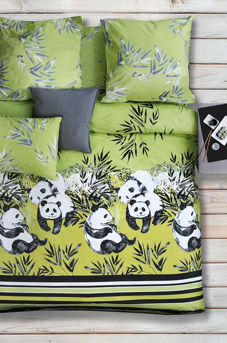 Комплект белья Sova & Javoronok Зеленый чай, 1,5-спальный, наволочки 50x70, цвет: зеленый, черный, белый02030816770Коллекция постельного белья Sova & Javoronok «Зеленый чай» была вдохновлена разнообразными ароматами природы, каждый из которых имеет свои особенности и уникальные ноты. Комплект постельного белья, выполнен из поплина. Этот высококачественный материал отличается своей прочностью, экологичностью и мягкостью. Легкая и гигроскопическая ткань практически не мнется, поэтому белье не собирается в грубые складки даже во время самого беспокойного сна. Поплин приятен телу, поэтому не вызывает раздражения или аллергии и при этом обеспечивает максимально комфортный сон. Комплект постельного белья из поплина, в отличии от постельного белья из бязи, гораздо тоньше и имеет благородный блеск, который придает ему особую изысканность. Постельное белье не потеряет свой цвет и текстуру даже после многочисленных стирок.