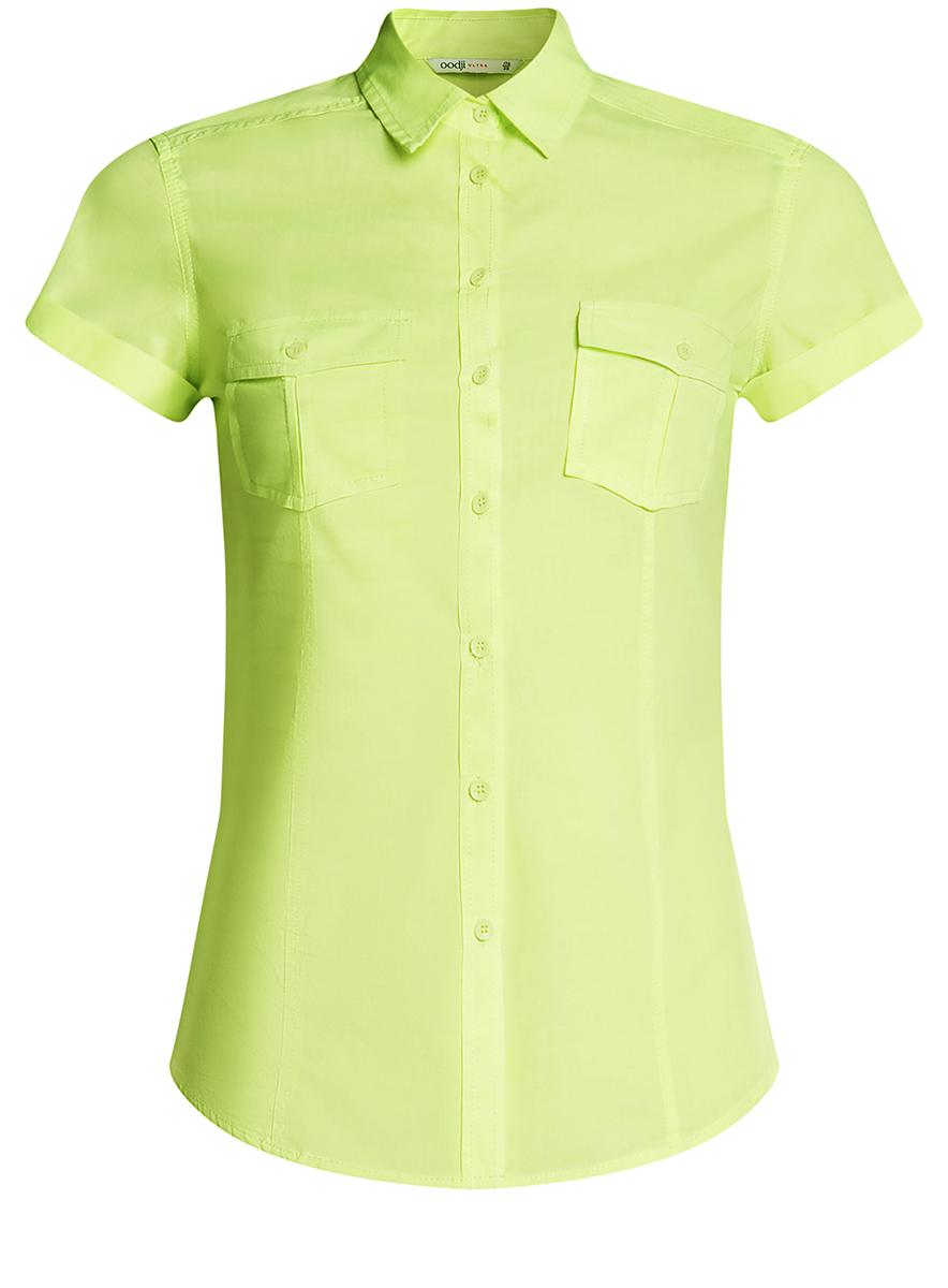 Рубашка женская oodji Ultra, цвет: желто-зеленый. 11402084-5B/45510/5000Y. Размер 40-170 (46-170)11402084-5B/45510/5000YЖенская рубашка oodji Ultra выполнена из натурального хлопка. Модель с отложным воротником и короткими рукавами на груди дополнена двумя накладными карманами с клапанами на пуговицах.