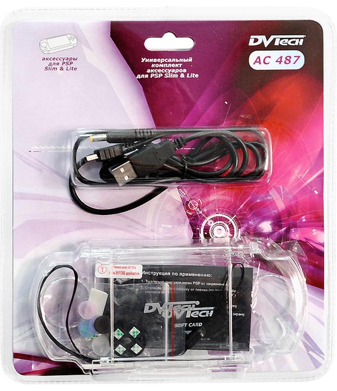 Комплект аксессуаров для PSP Slim 5в1 DVTech AC487AC487DVTech AC487 - отличный комплект аксессуаров для PSP Slim.Кабель USB предназначен для подзарядки приставки от порта USB и обмена данными между устройствами.Чехол из поликарбоната обеспечивает сохранность консоли от внешних воздействий и повреждений.Защитная пленка эффективно предохраняет экран от царапин, отпечатков и пыли.Ремешок на запястье станет незаменимым аксессуаром в дороге. В комплекте идет съемный брелок с подушечкой для очистки экрана.Накладка для кнопок предохраняет от случайного контакта с мини-джойстиком. Легко крепится при помощи двухстороннего скотча.Силиконовые накладки для мини-джойстика служат для улучшения контакта и обеспечивают хорошую управляемость в играх.