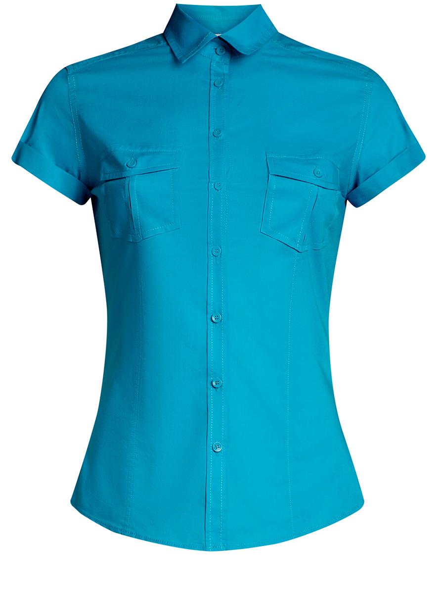 Рубашка женская oodji Ultra, цвет: бирюзовый. 11402084-5B/45510/7300N. Размер 38-170 (44-170) платье oodji collection цвет бирюзовый 21914003 33471 7300n размер 42 170 48 170
