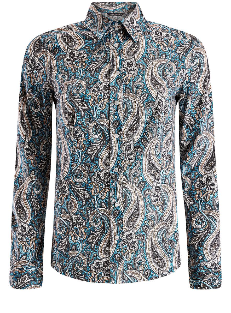 Рубашка женская oodji Collection, цвет: бирюзовый, оранжевый. 21402212/14885/7355E. Размер 42-170 (48-170) платье oodji collection цвет бирюзовый 21914003 33471 7300n размер 42 170 48 170