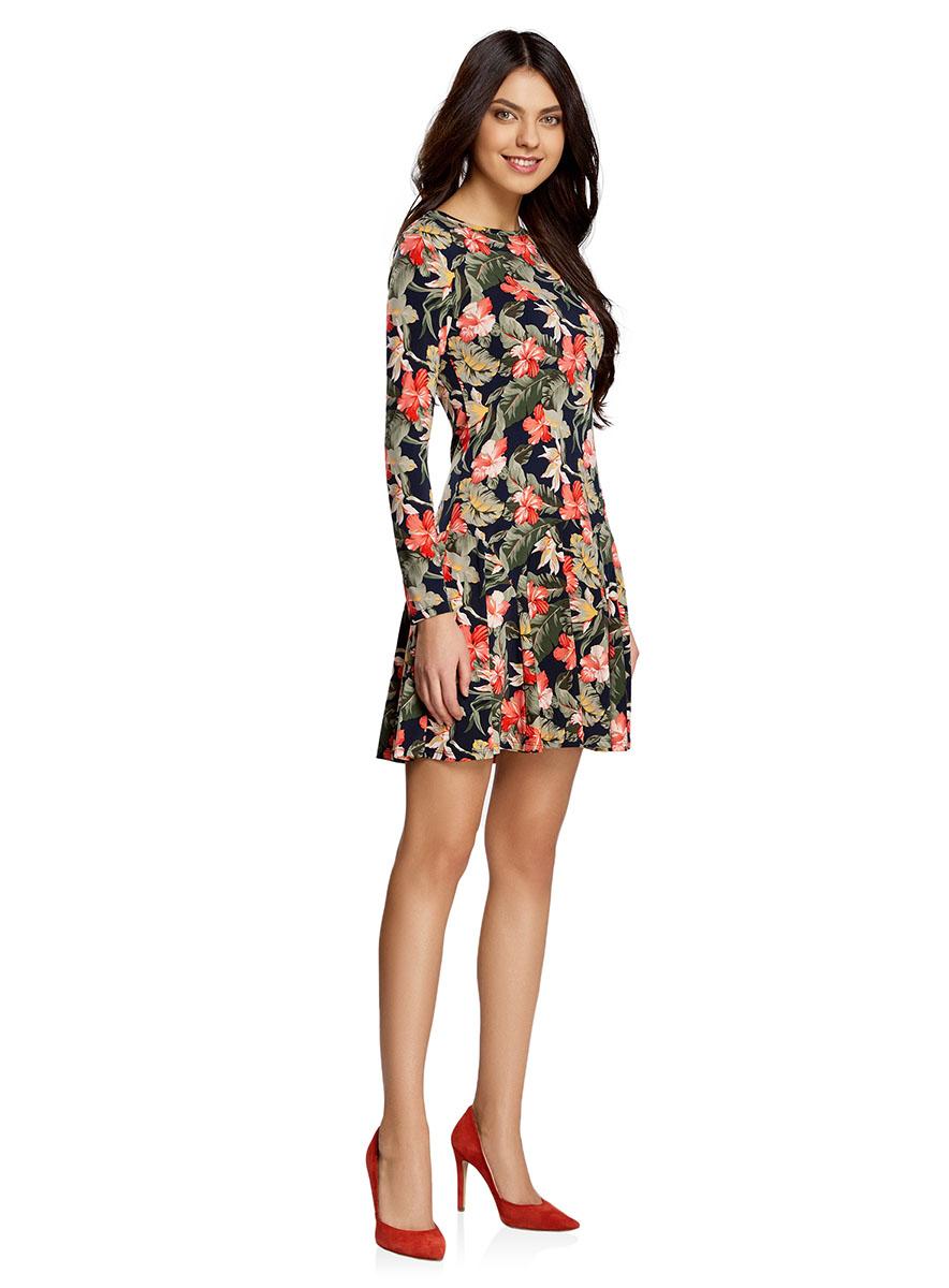 Платье oodji Ultra, цвет: темно-синий, темно-зеленый, красный. 14011015/46384/7919F. Размер XS (42-170)14011015/46384/7919FПриталенное платье oodji Ultra с расклешенной юбкой выполнено из качественного трикотажа. Модель средней длины с круглым вырезом горловины и длинными рукавами застегивается на скрытую молнию на спинке.