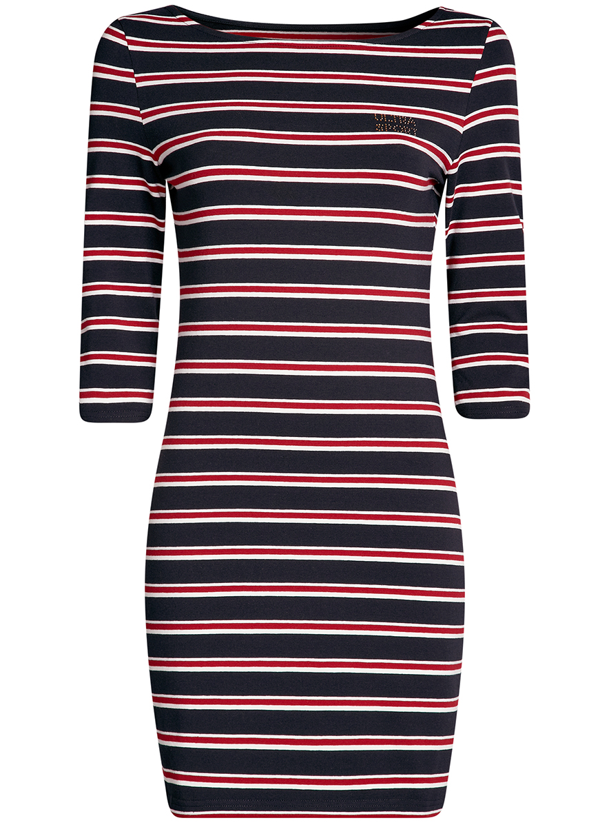 Платье oodji Ultra Sport, цвет: темно-синий, красный. 14001071-10/46148/7945S. Размер S (44-170)14001071-10/46148/7945SСтильное облегающее платье oodji Ultra Sport, выполненное из эластичного хлопка, отлично дополнит ваш гардероб. Модель мини-длины с вырезом лодочкой и рукавами 3/4 оформлена принтом в полоску и надписью из страз Ultra Sport.