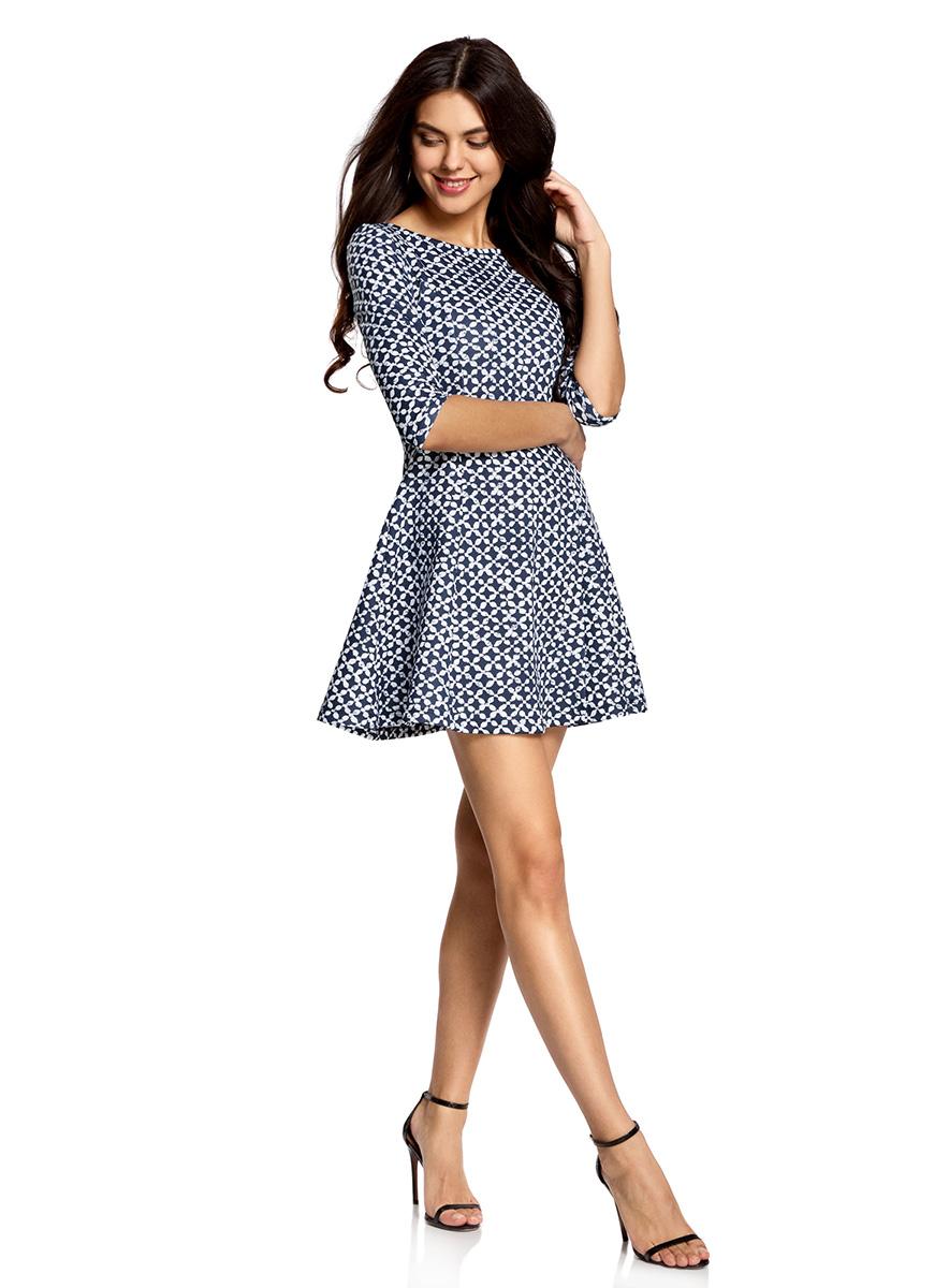 Платье oodji Ultra, цвет: темно-синий, белый. 14001150-3/33038/7912G. Размер XS (42)14001150-3/33038/7912GСтильное платье oodji Ultra, выполненное из качественного полиэстера с небольшим добавлением эластана, отлично дополнит ваш гардероб. Модель-мини с круглым вырезом горловины и стандартными рукавами 3/4 оформлена оригинальным принтом.