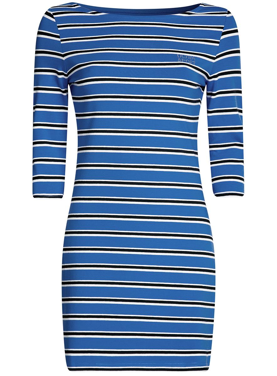 Платье oodji Ultra Sport, цвет: синий, черный. 14001071-10/46148/7529S. Размер L (48-170) ultra mens sport multivitamin formula как принимать