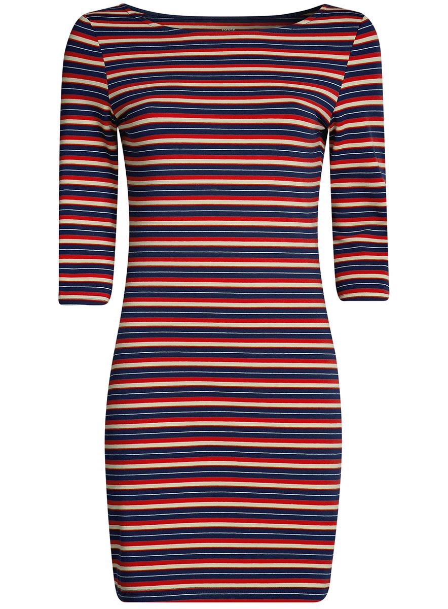 Платье oodji Ultra, цвет: синий, красный, серый. 14001071-2B/46148/7545S. Размер XXS (40)14001071-2B/46148/7545SСтильное платье oodji, выполненное из хлопка с добавлением эластана, отлично дополнит ваш гардероб. Модель длины мини с круглым вырезом горловины и рукавами 3/4.